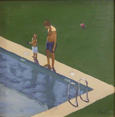 en-la-piscina-con-la-pelota-24-x-24-cm-oleo-sobre-tabla